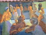 Beach Bar Queue by Paul Williams, Painting, Oil on Paper