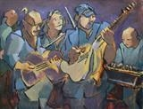 Blues band by Paul Williams, Painting, Oil on Paper