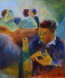 Champagne with smart phone by Paul Williams, Painting, Oil on Paper