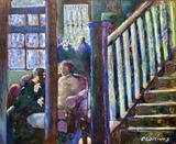 Conversations at the Crown by Paul Williams, Painting, Oil on Wood