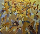 Dancing at La Fringale III by Paul Williams, Painting, Oil on Board