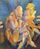Frozen smokers by Paul Williams, Painting, Oil on Wood