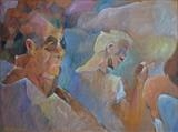 Generation gap in Ceret by Paul Williams, Painting, Oil on panel