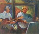 Guitarist duo by Paul Williams, Painting, Oil on Wood