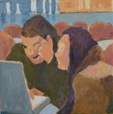 Laptop girls by Paul Williams, Painting, Oil on Paper