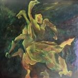 Rodin's maquettes hailing a taxi after Pilates by Paul Williams, Painting, Oil on Wood