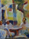 South of France Beach Bar by Paul Williams, Painting, Oil on Paper