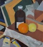 Still life with oil paints and paper bag by Paul Williams, Painting, Oil on Paper