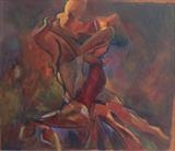 Street Tango in Barcelona by Paul Williams, Painting, Oil on Board
