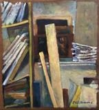 Studio shelves I by Paul Williams, Painting, Oil on Wood