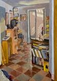 Upstairs from studio by Paul Williams, Painting, Oil on Board