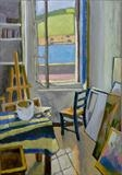 View of Mediterranean port from studio by Paul Williams, Painting, Oil on Board