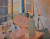 View of port from studio by Paul Williams, Painting, Oil on Paper