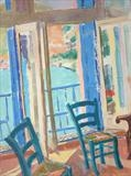 View over port from studio by Paul Williams, Painting, Oil on canvas