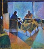 Window couple in Dutch bar by Paul Williams, Painting, Oil on panel